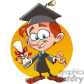 cartoon guy graduating with diploma