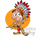 Native American guy bow and arrow cartoon