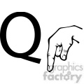 ASL sign language Q clipart illustration worksheet