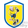 ice hockey player action logo in shield shape