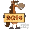 6883_Royalty_Free_Clip_Art_Horse_Cartoon_Mascot_Character_Holding_A_Banner_With_Text