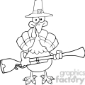 6901_Royalty_Free_Clip_Art_Black_and_White_Pilgrim_Turkey_Bird_Cartoon_Character_With_A_Musket
