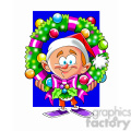 cartoon guy holding christmas wreath