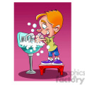 vector child washing his hands cartoon