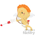 cupid with red hair shooting love arrows