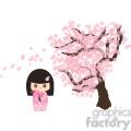 Geisha Cherry Blossom cartoon character illustration