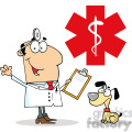 12853 rf clipart illustration doctor holding syringe and waving for greetings in front of red cross  png, jpg, eps, svg, pdf