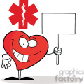 Friendly Heart Character Holding a Blank White Sign inFront of a Red Cross