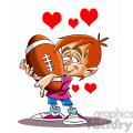 boy holding his large football with hearts bursting  gif, png, jpg, eps, svg, pdf