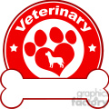 royalty free rf clipart illustration veterinary red circle label design with love paw dog and bone under text gif, png, jpg, eps, svg, pdf