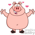 7145 Royalty Free RF Clipart Illustration Happy Pig Cartoon Mascot Character Open Arms For Hugging