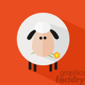 8225 Royalty Free RF Clipart Illustration Cute White Sheep With A Flower Modern Flat Design Vector Illustration