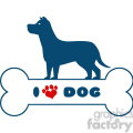royalty free rf clipart illustration dog blue silhouette over bone with text and red love paw print vector illustration isolated on white background gif, png, jpg, eps, svg, pdf