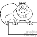 royalty free rf clipart illustration black and white smiling squirrel cartoon mascot character over blank sign gif, png, jpg, eps, svg, pdf