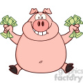 Royalty Free RF Clipart Illustration Smiling Rich Pig Jumping With Cash