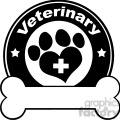 royalty free rf clipart illustration veterinary black circle label design with love paw print,cross and bone under text gif, png, jpg, eps, svg, pdf