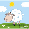 royalty free rf clipart illustration cute white sheep on a meadow  gif, png, jpg, eps, svg, pdf