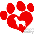 royalty free rf clipart illustration red love paw print with dog silhouette  gif, png, jpg, eps, svg, pdf