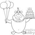 royalty free rf clipart illustration black and white birthday bulldog cartoon mascot character holding up a birthday cake with candles gif, png, jpg, eps, svg, pdf