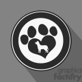 8255 royalty free rf clipart illustration love paw print black circle icon modern flat design vector illustration gif, png, jpg, eps, svg, pdf