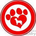 royalty free rf clipart illustration love paw print red circle banner design with dog silhouette  gif, png, jpg, eps, svg, pdf