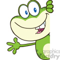 7257 royalty free rf clipart illustration cute frog cartoon mascot character looking around a blank sign and waving gif, png, jpg, eps, svg, pdf