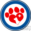 Royalty Free RF Clipart Illustration Veterinary Love Paw Print Blue Circle Banner Design With Dog Head And Cross
