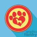 8254 royalty free rf clipart illustration love paw print red circle icon modern flat design vector illustration gif, png, jpg, eps, svg, pdf