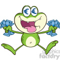Royalty Free RF Clipart Illustration Crazy Green Frog Cartoon Character Jumping With Euro