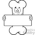 royalty free rf clipart illustration black and white funny bone cartoon mascot character holding a banner gif, png, jpg, eps, svg, pdf