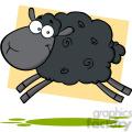 7107 royalty free rf clipart illustration black sheep cartoon mascot character jumping  gif, png, jpg, eps, svg, pdf