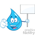 Royalty Free RF Clipart Illustration Water Drop Character Holding Up A Blank Sign