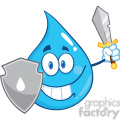 Royalty Free RF Clipart Illustration Water Drop Cartoon Mascot Guarder With Shield And Sword