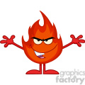 Royalty Free RF Clipart Illustration Evil Fire Cartoon Mascot Character With Open Arms