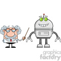 royalty free rf clipart illustration funny scientist or professor shows his pointer a big robot  gif, png, jpg, eps, svg, pdf