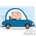 royalty free rf clipart illustration businessman driving car to work cartoon character on background  gif, png, jpg, eps, svg, pdf