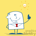 Royalty Free RF Clipart Illustration Happy Businessman With A Bright Idea Monochrome Cartoon Character On Yellow Background