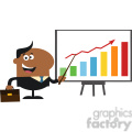 8359 royalty free rf clipart illustration african american manager pointing to a growth chart on a board flat style vector illustration gif, png, jpg, eps, svg, pdf