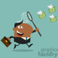 8298 Royalty Free RF Clipart Illustration African American Manager Chasing Flying Money With A Net Flat Design Style Vector Illustration