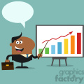 8360 Royalty Free RF Clipart Illustration African American Manager Pointing To A Growth Chart On A Board Flat Style Vector Illustration With Speech Bubble