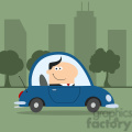 8264 royalty free rf clipart illustration smiling manager driving car to work in modern flat design vector illustration gif, png, jpg, eps, svg, pdf