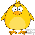 8585 Royalty Free RF Clipart Illustration Cute Yellow Chick Cartoon Character Vector Illustration Isolated On White
