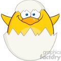 8621 royalty free rf clipart illustration surprise yellow chick cartoon character out of an egg shell vector illustration isolated on white gif, png, jpg, eps, svg, pdf