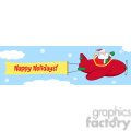 8209 Royalty Free RF Clipart Illustration Santa Flying In The Sky With Christmas Plane And A Blank Banner With Text Happy Holidays
