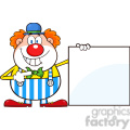 royalty free rf clipart illustration smiling clown cartoon character showing a blank sign  gif, png, jpg, eps, svg, pdf