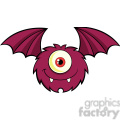 8909 Royalty Free RF Clipart Illustration Smiling Furry One Eyed Monster Cartoon Character Flying Vector Illustration Isolated On White vector clip art image