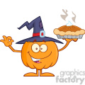 8894 Royalty Free RF Clipart Illustration Smiling Witch Pumpkin Cartoon Character Holding Up A Pie Vector Illustration Isolated On White vector clip art image