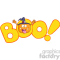 Royalty Free RF Clipart Illustration Boo Text With Scaring Halloween Pumpkin With A Witch Hat