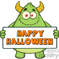 8935 Royalty Free RF Clipart Illustration Smiling Horned Green Monster Cartoon Character Holding Happy Halloween Sign Vector Illustration Isolated On White vector clip art image
