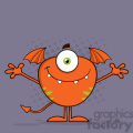 8907 Royalty Free RF Clipart Illustration Cute Monster Cartoon Character With Welcoming Open Arms Vector Illustration With Background